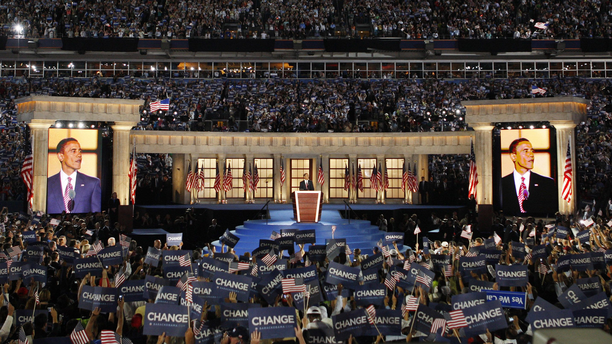 Democratic presidential nominee, Sen. Barack Obama, D-Ill., gives his acceptance speech at the Democratic National Convention in Denver, Thursday, Aug. 28, 2008. (AP Photo/Ron Edmonds)