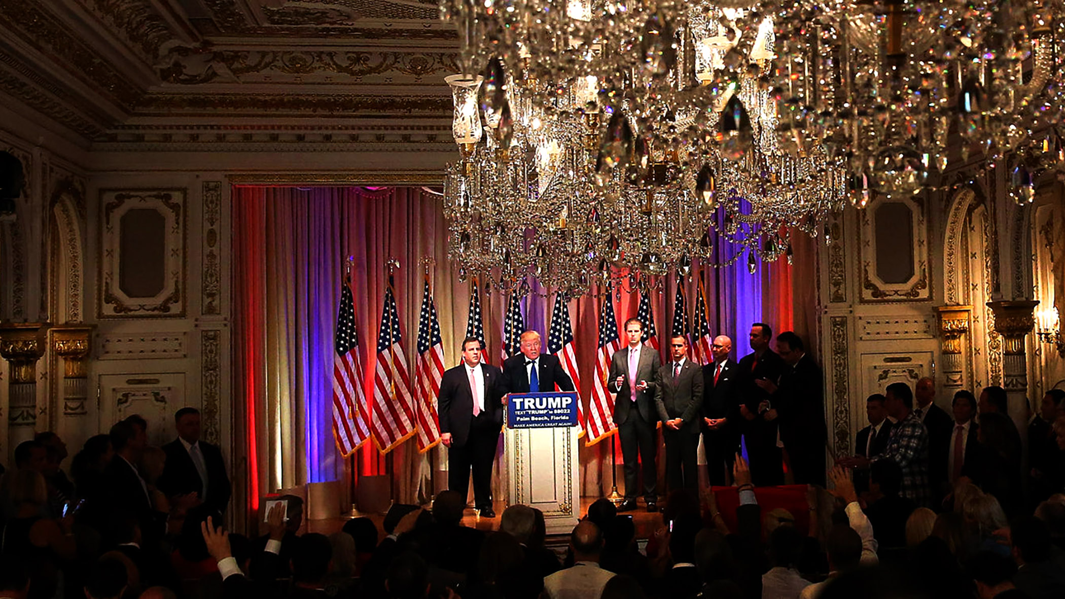 Republican Presidential frontrunner Donald Trump speaks to the media at the Mar-A-Lago Club in Palm Beach, Fla.