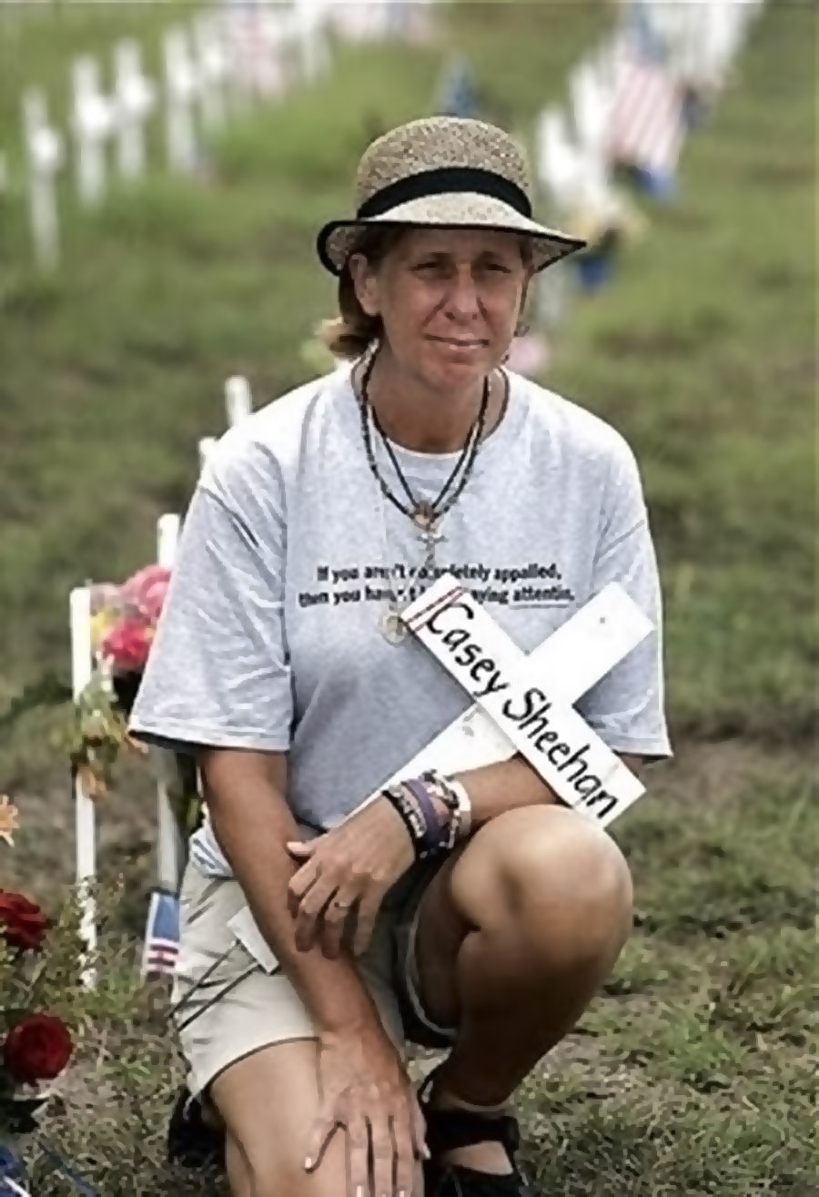 Cindy Sheehan poses for a magazine at her camp  on the side of the road leading to President Bush's ranch near Crawford, Texas, Monday, Aug. 15, 2005. Sheehan's vigil to meet with President Bush is entering its' second week. Shehanwhose son CAsey died in Iraq said she will continue her anti-war demonstration for three more wee. (AP Photo/LM Otero)